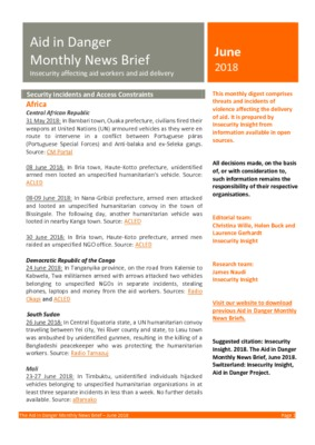 Aid in Danger June 2018 | Monthly News Brief