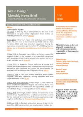 The Aid in Danger Monthly News Brief July 2018