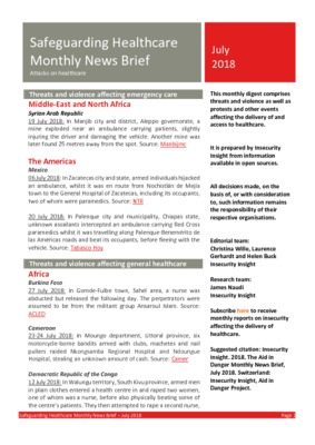 Safeguarding Healthcare Monthly News Brief July 2018