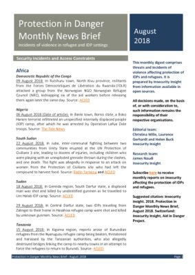 Protection in Danger Monthly News Brief August 2018