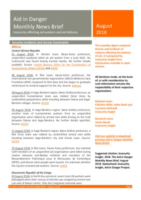 The Aid in Danger Monthly News Brief August 2018