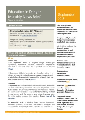 Education in Danger September 2018 | Monthly News Brief