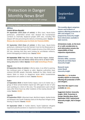 Protection in Danger September 2018 | Monthly News Brief