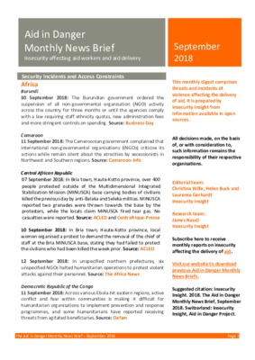 Aid in Danger September 2018 | Monthly News Brief