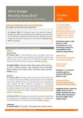 Aid in Danger October 2018 | Monthly News Brief