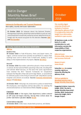 Aid in Danger October 2018   Monthly News Brief