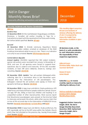 Aid in Danger December 2018 | Monthly News Brief