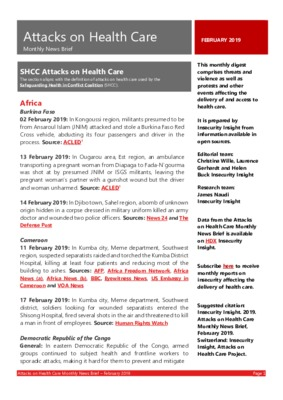 Attacks on Health Care February 2019 | Monthly News Brief
