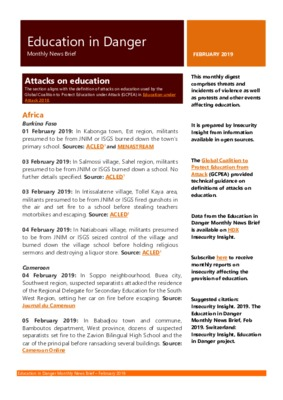 Education in Danger February 2019 | Monthly News Brief