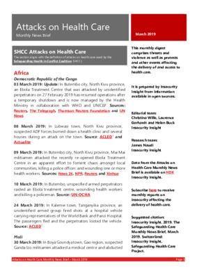 Attacks on Health Care March 2019 | Monthly News Brief