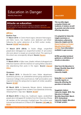 Education in Danger March 2019 | Monthly News Brief