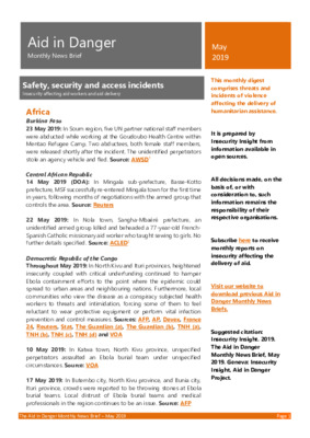 Aid in Danger May 2019 | Monthly News Brief