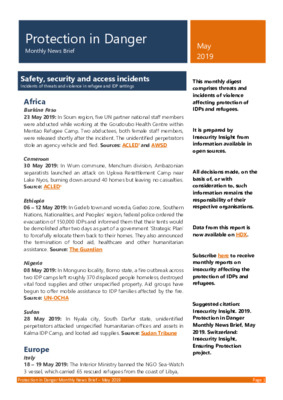 Protection in Danger May 2019 | Monthly News Brief