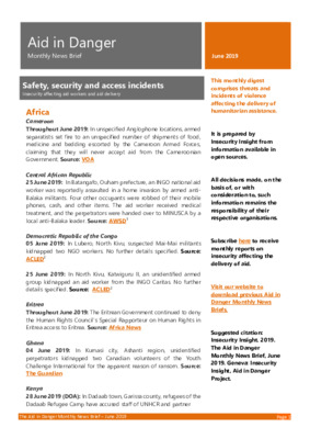 Aid in Danger June 2019   Monthly News Brief