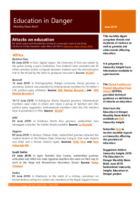 Education in Danger June 2019 | Monthly News Brief