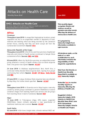 Attacks on Health Care June 2019 | Monthly News Brief