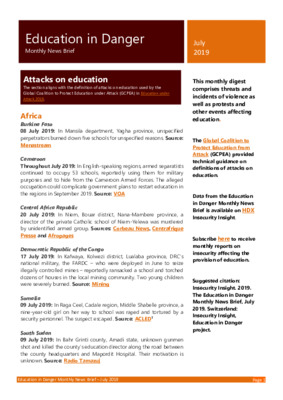 Education in Danger July 2019 | Monthly News Brief