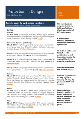 Protection in Danger July 2019 | Monthly News Brief