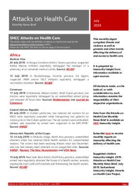Attacks on Health Care July 2019 | Monthly News Brief