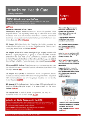 Attacks on Health Care August 2019 | Monthly News Brief