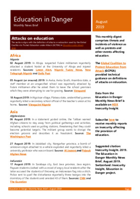 Education in Danger August 2019 | Monthly News Brief