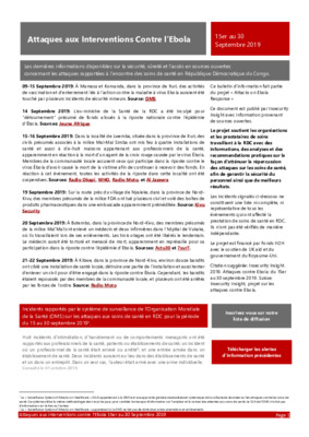 15-30 Sept 2019 Bulletin D'Alerte Attaques aux Interventions Contre l'Ebola