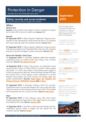 Protection in Danger September 2019 | Monthly News Brief