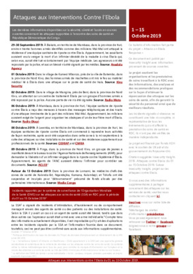1-15 October 2019: Bulletin D'Alerte Attaques aux Interventions Contre l'Ebola
