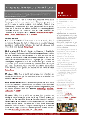 15-31 October 2019: Bulletin D'Alerte Attaques aux Interventions Contre l'Ebola