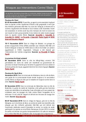 1-15 Novembre 2019: Bulletin D'Alerte Attaques aux Interventions Contre l'Ebola