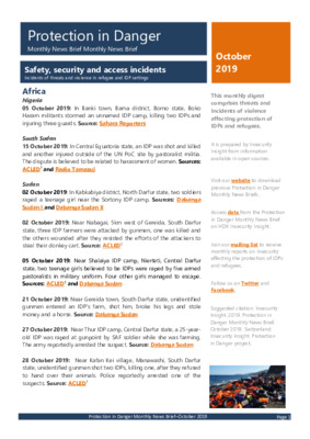 Protection in Danger October 2019 | Monthly News Brief