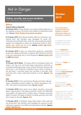 Aid in Danger October 2019 | Monthly News Brief