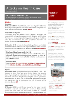 Attacks on Health Care October 2019 | Monthly News Brief