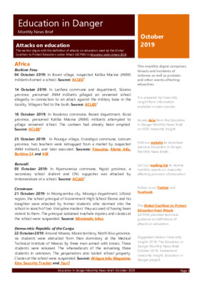 Education in Danger October 2019 | Monthly News Brief