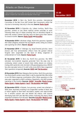 15-30 November 2019: Information Alert Attacks on Ebola Response in the DRC