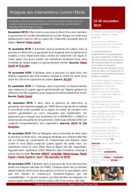 15-30 novembre 2019: Bulletin D'Alerte Attaques aux Interventions Contre l'Ebola