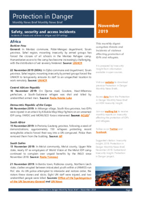 Protection in Danger November 2019 | Monthly News Brief