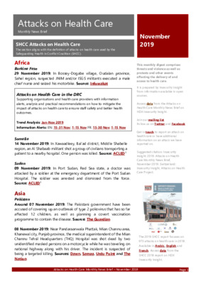 Attacks on Health Care November 2019 |   Monthly News Brief