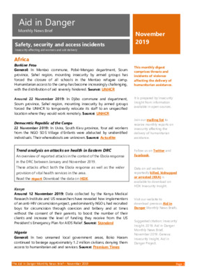 Aid in Danger Monthly November 2019 | News Brief