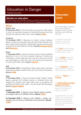 Education in Danger November 2019 | Monthly News Brief