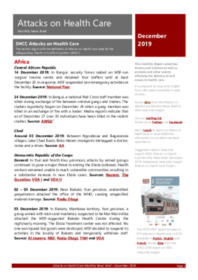 Attacks on Health Care December 2019 | Monthly News Brief