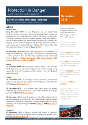 Protection in Danger December 2019 | Monthly News Brief