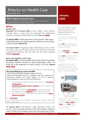 Attacks on Health Care January 2020 | Monthly News  Briefs