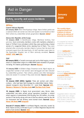 Aid in Danger Monthly January 2020 | News Brief