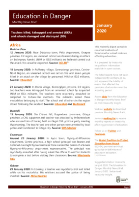 Education in Danger January 2020 | Monthly News Brief