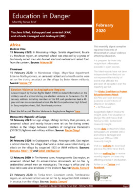 February 2020 Education in Danger | Monthly News Brief