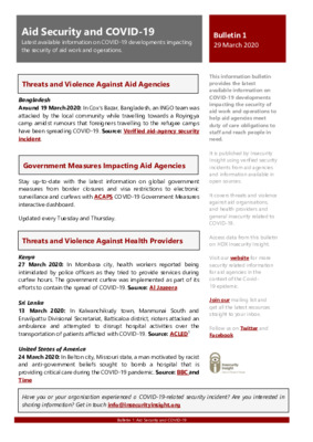 Bulletin 1 Aid Security and COVID-19 by Insecurity Insight