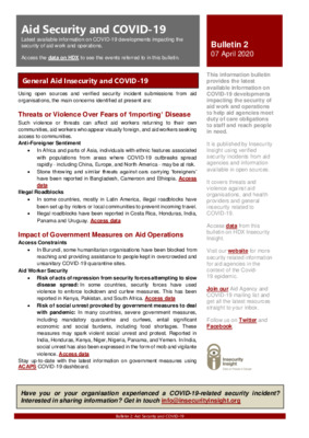 Bulletin 2 Aid Security and COVID-19