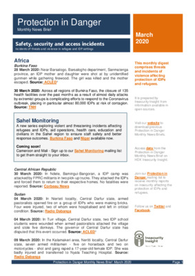 March 2020 Protection in Danger Monthly News Brief