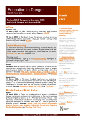 March 2020 Education in Danger   Monthly News Brief